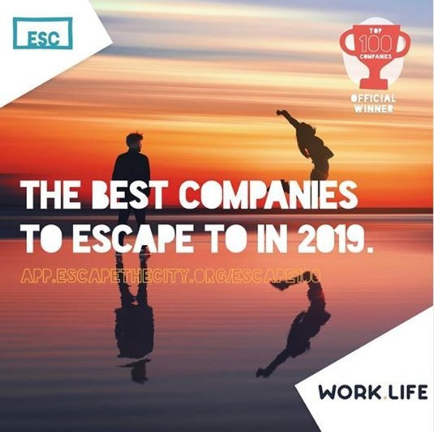 We are massively excited, proud and over the moon for @workdotlife who has officially been chosen as one of 'The Escape 100: Best Companies to Escape to in 2019'! Head over to our LinkedIn page to find out more about why they were nominated.