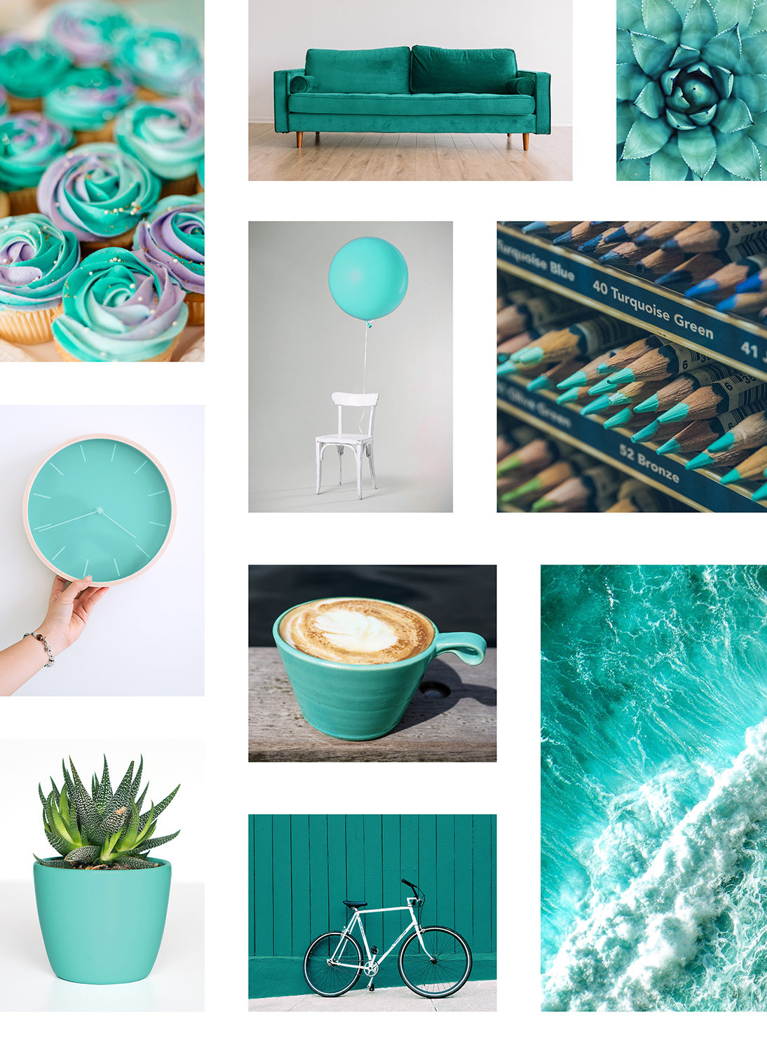 Various images of things in the world;s favourite colour Marrs Green