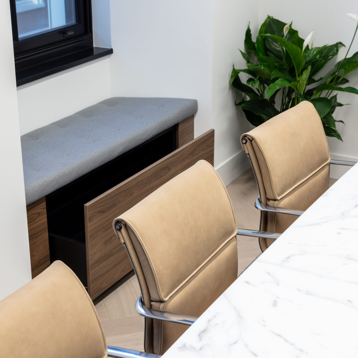 Beautiful leather chairs in the boardroom